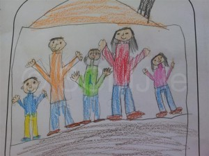 Baraa drew this lovely picture of his family.